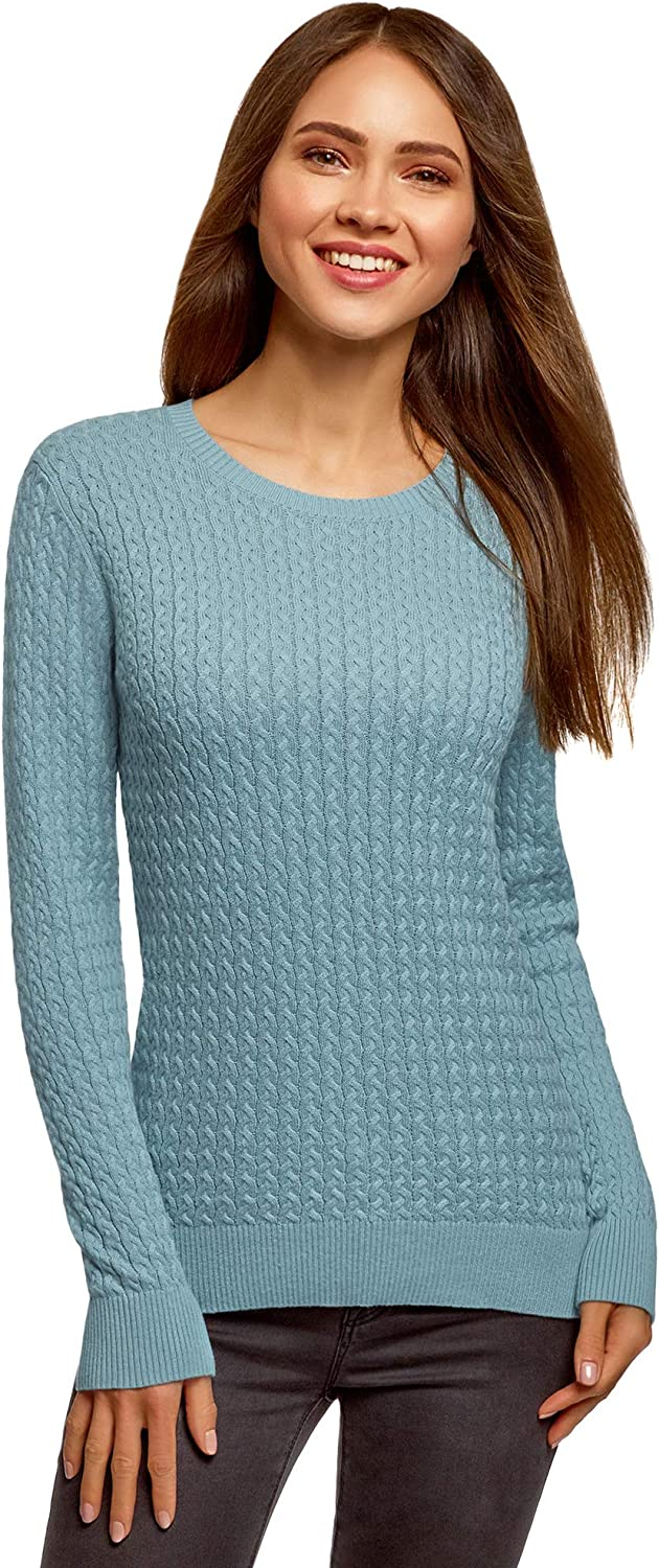 oodji Collection Women's Fine Cable Knit Pullover