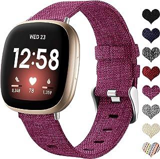 Ouwegaga Geweven Bandje Compatibel met Fitbit Versa 3 Bandje/Fitbit Sense Bandje, Ademend Nylon Stof Vervangende Bandjes C...
