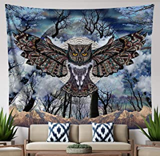 Lucid Eye Studios Moon Owl Tapestry- Blue Mandala Wall Tapestry- Dark Forest Design- Animal Wall Hanging- Mountain Wall Artwork- Dorm Wall Hanging- 84 x 72 inches