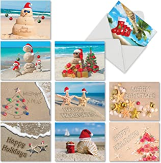 The Best Card Company - Season's Beachin - 10 Christmas Cards with Envelopes (4 x 5.12 Inch) - Assorted Tropical Xmas Greetings M6651XSG