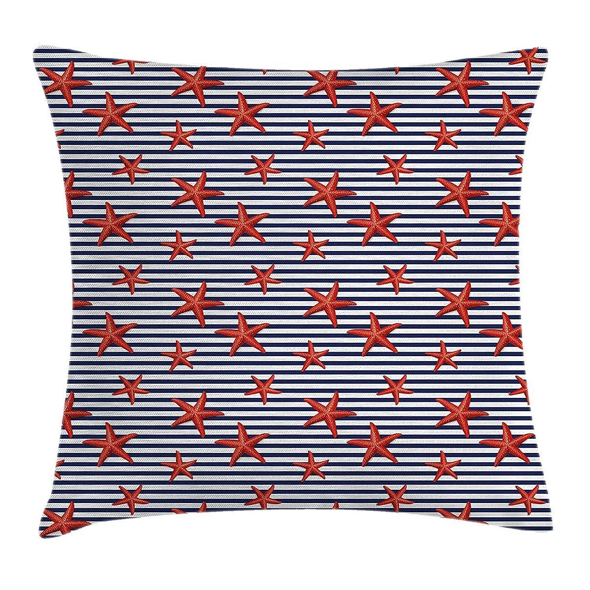チップ是正するパスStarfish Throw Pillow Cushion Cover, Classical Striped Backdrop with Red Colored Sea Stars Maritime Themed Pattern, Decorative Square Accent Pillow Case, 18 X 18 inches, Navy White Red