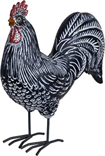 Exhart Black Rooster Garden Statue w/White Polka Dots Design - Country Rustic Rooster Figurine, Rooster Tabletop Decor, Rooster Garden Art, Farmhouse Decor Table Display, 4.3