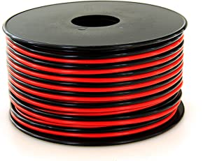 GS Power 16 AWG (American Wire Gauge) Pure Copper Stranded Flexible 100 feet Red & 100 ft Black Dual Conductor Bonded Zip Cord Cable for Car Amplifier Automotive Trailer Harness Wiring