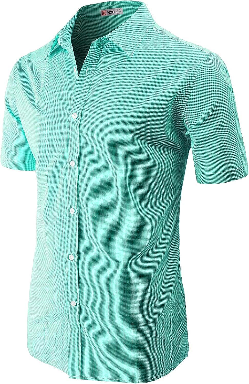 H2H Men's Casual Short Sleeve Shirts Patterned Shirts