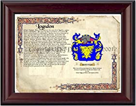 Logsdon Coat of Arms/ Family Crest on Fine Paper and Family History