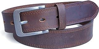 حزام جلدي رجالي من Jeereal بدرجتين من الأوقات، أحزمة جينز كاجوال بحزام رجالي (11.2 بوصة عرض/3.5 مم سمك)