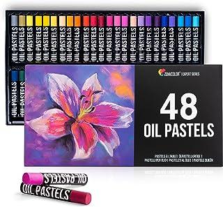Zenacolor - مجموعه 48 پاستل روغنی - رنگهای پاستلی روغن مقاوم در برابر آب با رنگدانه بالا - بافت نرم ، بدون پسماند - لوازم هنری حرفه ای برای هنرمندان