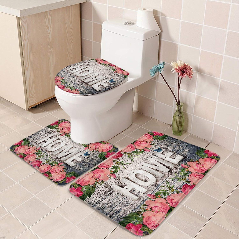 COLORSUM Max 78% OFF 3 Piece Bathroom Rug Set Rose Red Flowers on quality assurance Retro Home
