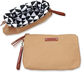 Canvas Pouch for Large or Small Makeup Bag Purse Toiletry Handbag Organizer with Zipper (Large, Caramel Sand {Tan & Black Triangle Lined})