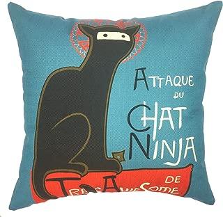 YOUR SMILE Ninja Cat Cotton Linen Square Decorative Throw Pillow Case Cushion Cover 18x18 Inch(44CM44CM) (Color#13)