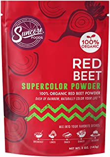 Suncore Foods – Organic Red Beet Supercolor Powder, 5oz – Natural Beetroot Food Coloring Powder, Plant Based, Vegan, Glute...