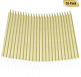 Aplusplanet 24 Count Gold Birthday Cake Candles, Metallic Long Thin Cake Candle in Holders for Cupcake Wedding Party Cake Birthday Cake Decorations
