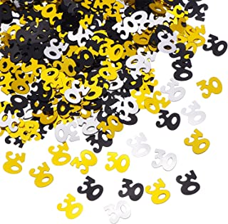 Shappy Number 30 Glitter Confetti for 30th Birthday Anniversary Party Supplies Table Decoration, 1.76 Ounce (Gold Black and Silver)