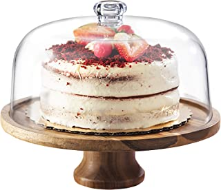 Godinger Cake Stand, Footed Cake Plate Server with Dome, Acaciawood and Shaterproof Acrylic Lid
