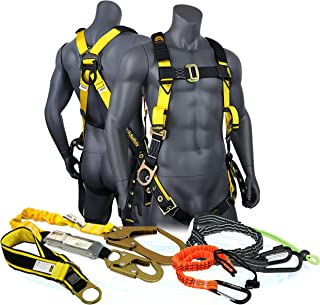 KwikSafety (Charlotte, NC) SUPERCELL KIT | 3D Full Body Tongue Buckle Safety Harness, 6' Lanyard, Tool Lanyard, 3' Anchor ANSI OSHA PPE Fall Protection Arrest Restraint Equipment Construction Roofer