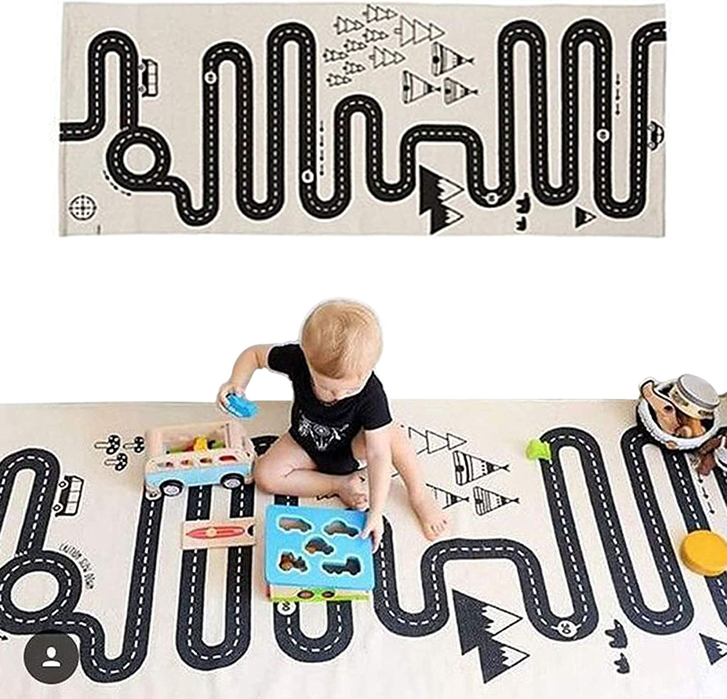 LISIBOOO free shipping Cotton Crawling Blanket Play Mat Year-end annual account Adven Road Games Floor