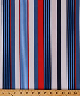 Cotton Blue Red White Stripes Striped Nautical Patriotic Starboard Stripe Cotton Fabric Print by The Yard (D148.11)