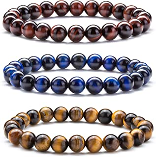 Hamoery Men Women 8mm Natural Stone Lava Rock Diffuser Bracelet Elastic Yoga Agate Beads Bracelet Bangle-21014
