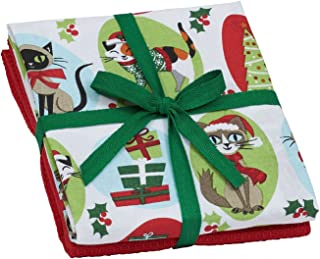 Design Imports Kitchen Towel Set of 2 Holiday Santa Paws Kitty or Dog Design (Xmas Kitty)