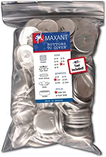 (Size 60 Wire - Qty 100) - 100 Buttons to Cover - Made in USA - Self Cover Buttons with wire eyes - size 60 with Tool