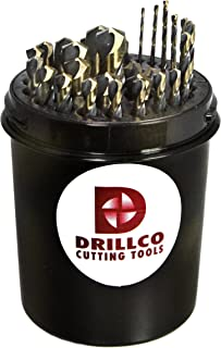 140 Degree Split Point Pack of 12 Spiral Flute Round Shank with Flats Black//Gold Oxide Finish Drillco 400F Series High-Speed Steel Jobber Length Drill Bit 19//64 Size