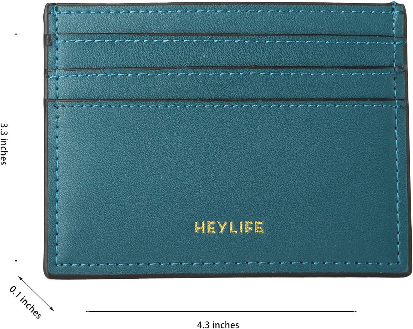 Gr�n RFID Kreditkartenetui f/ür Damen Herren Slim Leder Kartenetui Brieftasche Minimalistische Geldklammer - HEYLIFE dunkelgr/ün