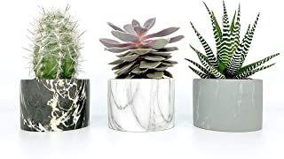 Mojave Inc. Ceramic Succulent, Cactus, Cacti, Flower Pots, Planter, Container with Drainage Hole. Set of 3. Natural Marble Black, White, and Grey. 3.5 Inch Diameter.