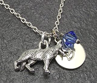 German Shepherd Dog Necklace with Swarovski Crystal and Custom Initial Charm Personalized Gift