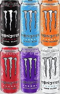 Monster Energy Ultra Energy Drinks Variety Sampler Pack- 16 Ounce Cans - Pack of 6