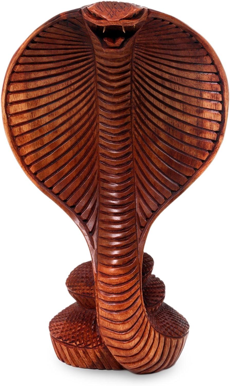 NOVICA Hand Carved Brown Natural Grain Wood Snake Sculpture, 9.75