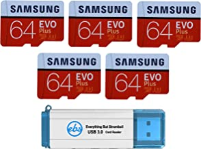 Samsung 64GB Evo Plus MicroSD Card (5 Pack Bundle) Class 10 SDXC Memory Card with Adapter (MB-MC64G) with (1) Everything But Stromboli (TM) 3.0 Reader with SD & Micro (TF) Slots