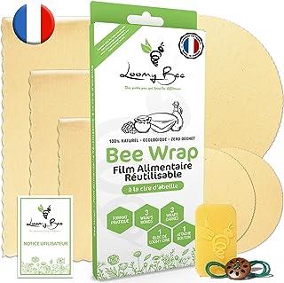 Loomy Bee Wrap ou Emballage Cire d'abeille Réutilisable - Lot de 6 - Film Alimentaire Réutilisable écologique, Lavable et ...