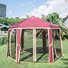 Kinbor Penthouse Hexagon Gazebo, Quick-Up Instant Outdoor Patio Canopy with Fully Enclosed Mesh Sides
