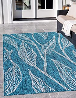 Outdoor Collection Teal 6' x 9' Feet Area Rugs, Home Decorations Area Rugs Floor Mats