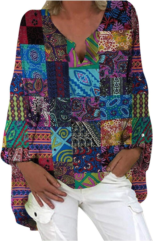 Boho Shirts for Women Plus Size Vintage Long Sleeve Tunic Tops Ethnic Print Bohemian Loose Tunic Blouse