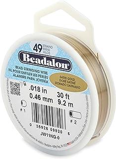 Beadalon 49-Strand Bead Stringing Wire, 0.018-Inch, Satin Gold, 30-Feet