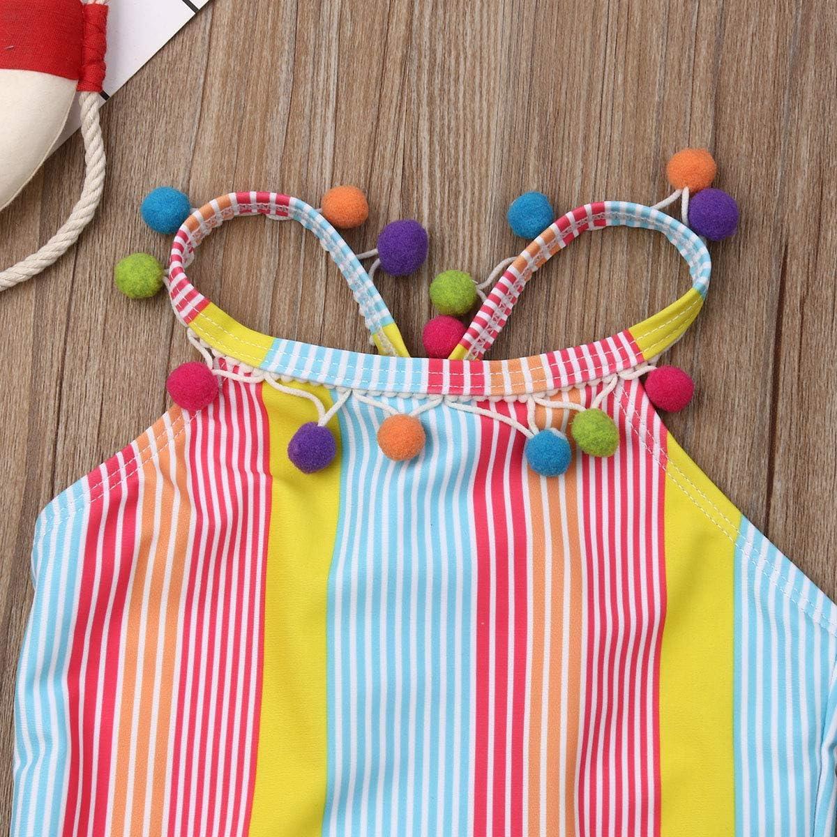 Mother and Daughter Summer Swimsuit Striped Bikini Set Tassel Ball One Pieces Suit Swimwear Beachwear Bathing Suit