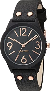 Nine West Women's NW/1932BKRG Matte Black Rubberized Bracelet Watch