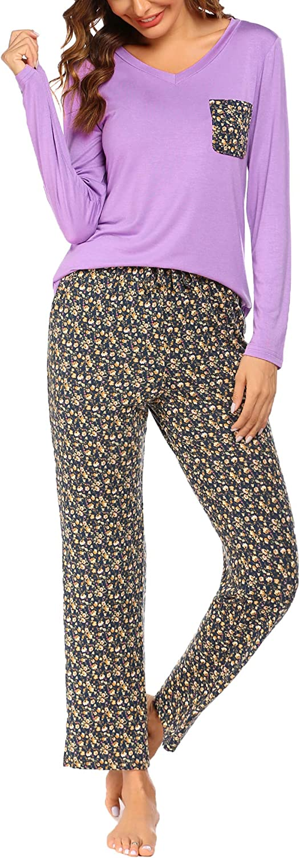 Hotouch Womens Pajama Set Striped Long Sleeve Top & Pants Sleepwear Pjs Sets
