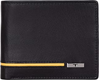 Urban Forest Stag RFID Blocking Black/Yellow Leather Wallet for Men