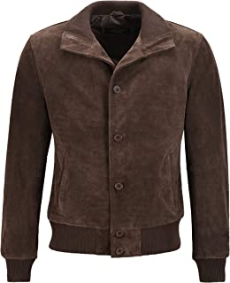 Men's Classic Bomber Jacket Brown Suede Leather 70's Retro Aviator Jacket 5838