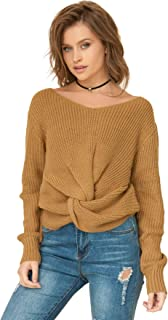 Milumia Long Sleeves Criss Cross Loose Fitting Batwing Style Fall Lightweight Sweater V Neck Shirts