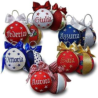Crociedelizie, set da 4 palline di Natale personalizzate 8 cm nome ricamato decorazione natalizia personalizzabile scegli ...
