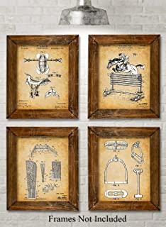 Original Equestrian Patent Prints - Set of Four Photos (8x10) Unframed - Makes a Great Gift Under $20 for Horse Lovers