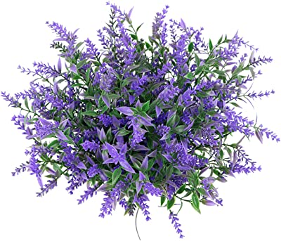 Generies Artificial Flowers, 6 Bundles Artificial Lavender Flowers Outdoor Fake Flowers for Decoration UV Resistant No Fade Faux Plastic Plants Garden Porch Patio Window Box Décor (Purple)