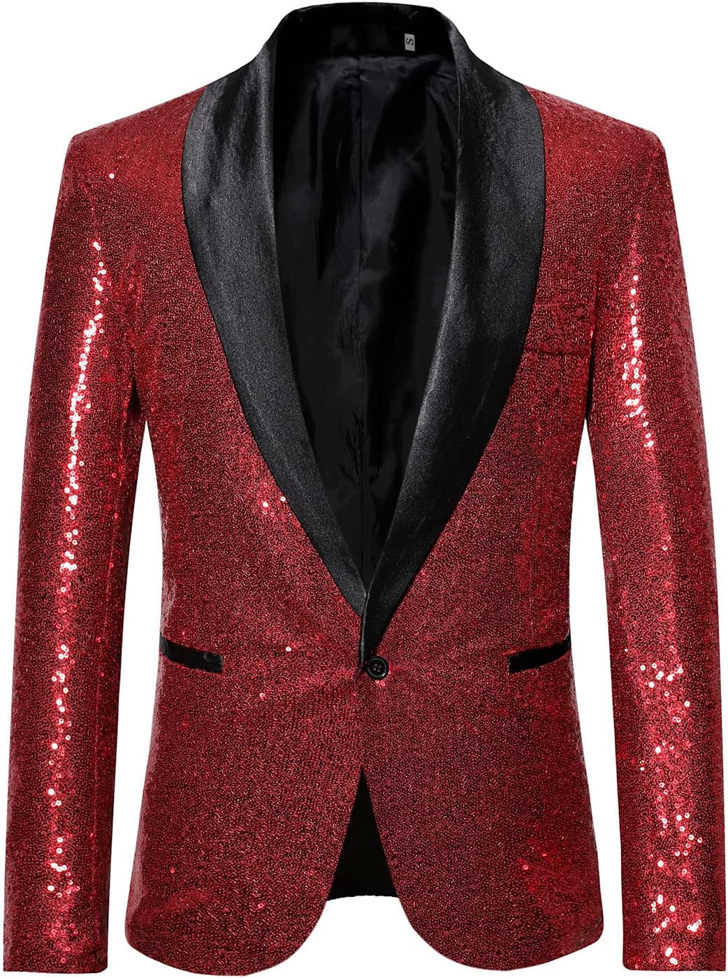 Men's Stylish Sequins Suit Jacket Blazer Two Color Conversion Shiny One Button Jackets Weddings Prom Party Dinner Tuxedo (Red,X-Large)