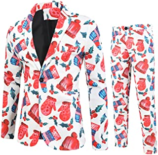 Printed Blazer For Mens,Men's Polyester Suit 2-Piece Suit Vintage Blazer Jacket & Trousers Christmas Suit Party Mens Funny...
