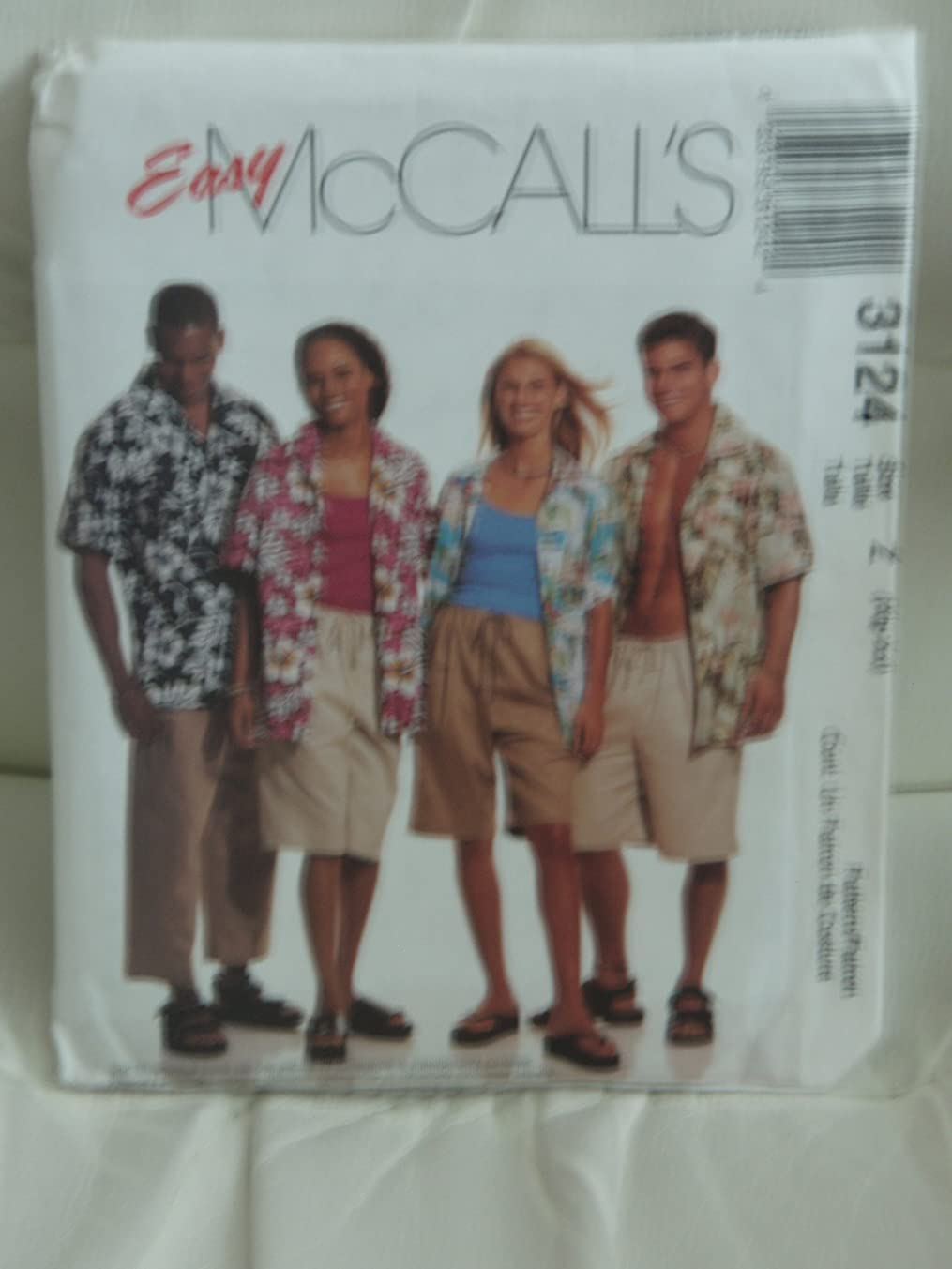 McCall's Sewing Pattern #3124:(EASY) Misses', Mens's & Teen Boys Shirt & Shorts in Two Lengths (Sizes XL-XXL)