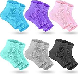 Selizo 6 Pairs Heel Moisturizing Socks Open Toe Socks Cracked Gel Heel Socks Foot Toeless Cooling Heel Repair Socks for Wo...