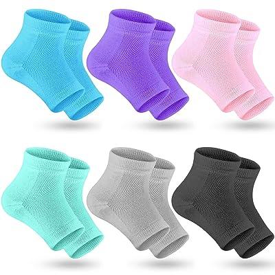 Selizo 6 Pairs Heel Moisturizing Socks Open Toe Socks